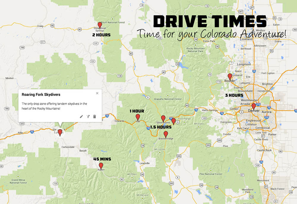Colorado drive times to Roaring Fork Skydivers